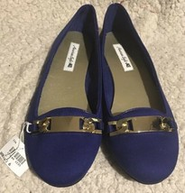 American Eagle Women's Blue Slip On Flats W/ Goldtone Buckles Sz 6 NEW - $14.99