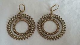 """1.5""""VINTAGE Hallmarked Round Royal Pink Blue Rhinestone Hoop Earrings,Lever Back - $4.94"""