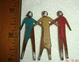 VTG HAND FORGED WROUGHT BRASS ENAMEL TRIPLETS FRIENDS DANCERS PIN BROOCH... - $87.99