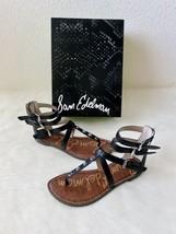 ✨New SAM EDELMAN Genevive Studded T Strap Sandals Black Womens Size 7M $100 NIB - $39.10