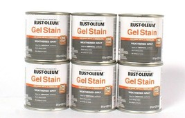 6 Cans Rust-Oleum 8 Oz Gel Stain One Coat 344661 Weathered Gray Rich Dee... - $25.99