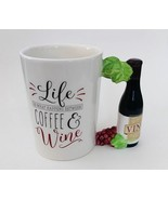 COFFEE MUG Life is What Happens Between Coffee & Wine Ceramic Cup Grapes... - $15.99