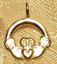 925 Sterling Silver Small Celtic Claddagh Design Pendant Charm image 1