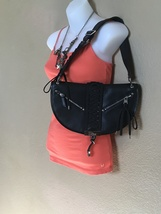 Full Grain Leather Black Authentic Lace Up Shoulder Bag by Christian Dior - $400.00