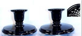 Imperial Ebony Black Glass Low Candleholders with Diamond Quilted Underbase - $34.87