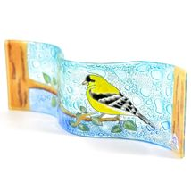 Fused Art Glass Goldfinch Yellow Finch Birds Wavy Decor Piece Handmade Ecuador image 4