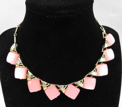 Vintage Costume Jewelry Necklace Pink Square Lucite Retro Gold Tone Pend... - $35.00