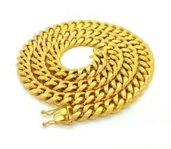 MENS 12mm HIP HOP HEAVY GOLD FINISH MIAMI CUBAN LINK CHAIN NECKLACE OR B... - $57.69