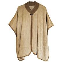 GOLDEN COLOR BABY ALPACA WOOL CAPE PONCHO WRAP SHAWL COAT HANDMADE IN EC... - $62.32