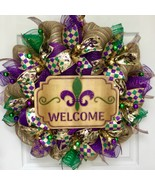 Fleur de Lis Welcome Wreath Mardi Gras Or All Occasion Handmade Deco Mesh - $92.99