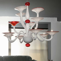 Mazzega VENEZIA Chandelier White Red Polished Chrome Murano Glass NEW - $4,356.00