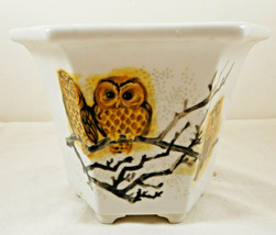 Six Sided Owl Planter Pot Vase White - $14.84