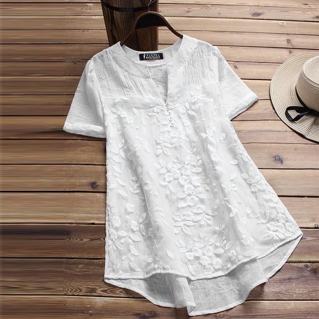 Plus Size 2018 ZANZEA Summer Blouse Elegant Women Embroidery V Neck Short Sleeve