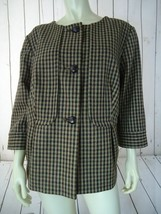 TALBOTS WOMAN Blazer 16W Brown Wool Plaid Checks Button Front SWING RETRO - $58.41