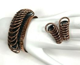 Vintage RENOIR modernist Brutalist Copper Bracelet And Clip Earrings Sig... - $39.55