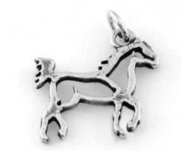 STERLING SILVER HORSE BODY FRAME CHARM/PENDANT - $8.59