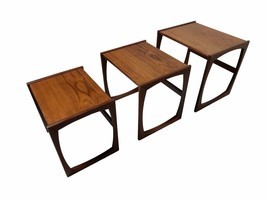 Teak Mid Century Modern Nest of 3 Interlocking Tables, MCM - £687.11 GBP