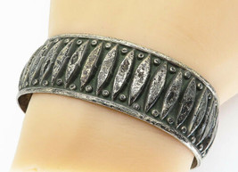 925 Sterling Silver - Vintage Dark Tone Rustic Patterned Cuff Bracelet -... - $66.20