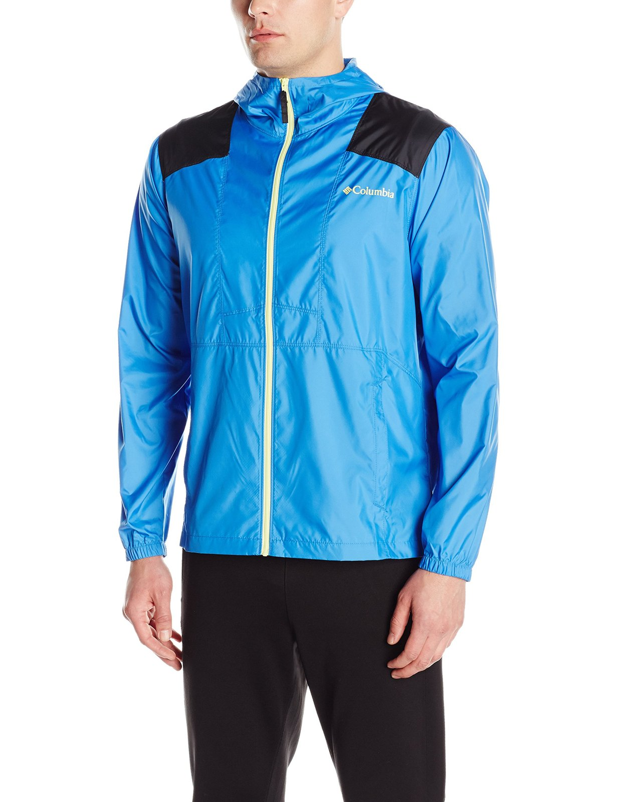 Columbia Men's Flashback Windbreaker, Pacific Blue, Black, Medium