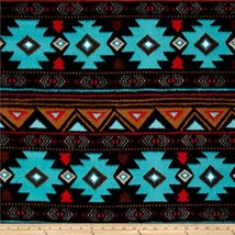 Baum Textiles Winter Fleece Peace Stripe Turquoise Fabric By The Yard, Turquoise