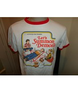 Vtg White Red RINGER Lets Summon Demons Comic Activities Cotton T-shirt ... - $23.27