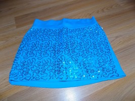 Girls Size 10 Justice Solid Turquoise Sequined Mini Skirt Skort EUC - $15.00