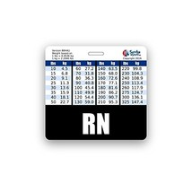 RN Badge Buddy Horizontal w/ Height & Weight Conversion Charts Black - $6.85