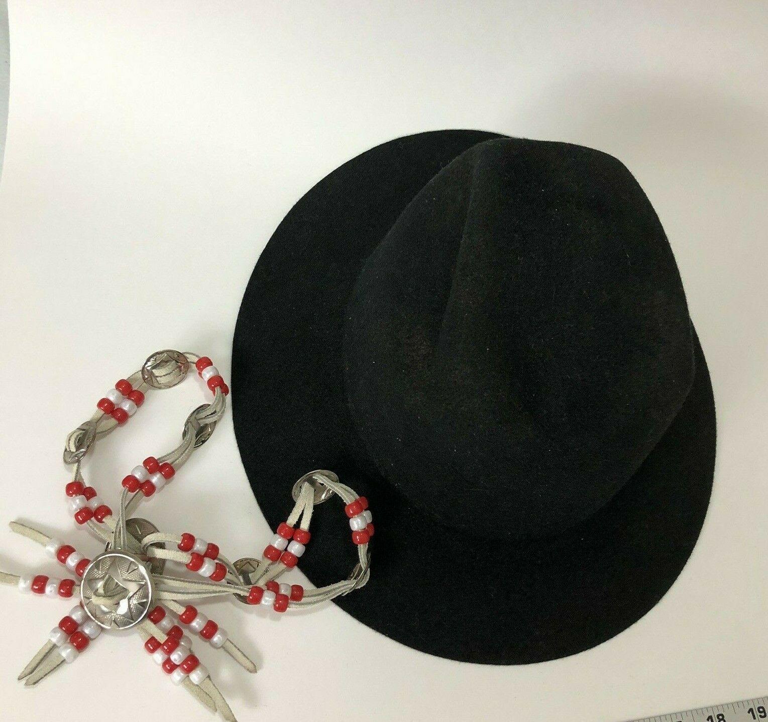 Vtg Western Outback Hat Mens Black Wool Felt Indiana Jones Dorfman Pacific USA  image 5