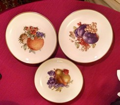 3 ESCHENBACH BARONET CHINA FRUIT PLATES Bavaria, Germany - Pear Plums Or... - $18.37