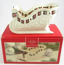 Lenox Christmas Giftables Sleigh Candy Dish with Tartan Plaid Ribbon, MSRP $60 - $23.99