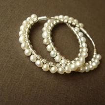 Sterling Silver Pearl Hoops - Freshwater Pearl Earrings - $56.00