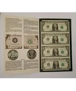 Nice Uncut Sheet of 4 Series 1985 $1 Dollar Bills. Federal Reserve - $32.42