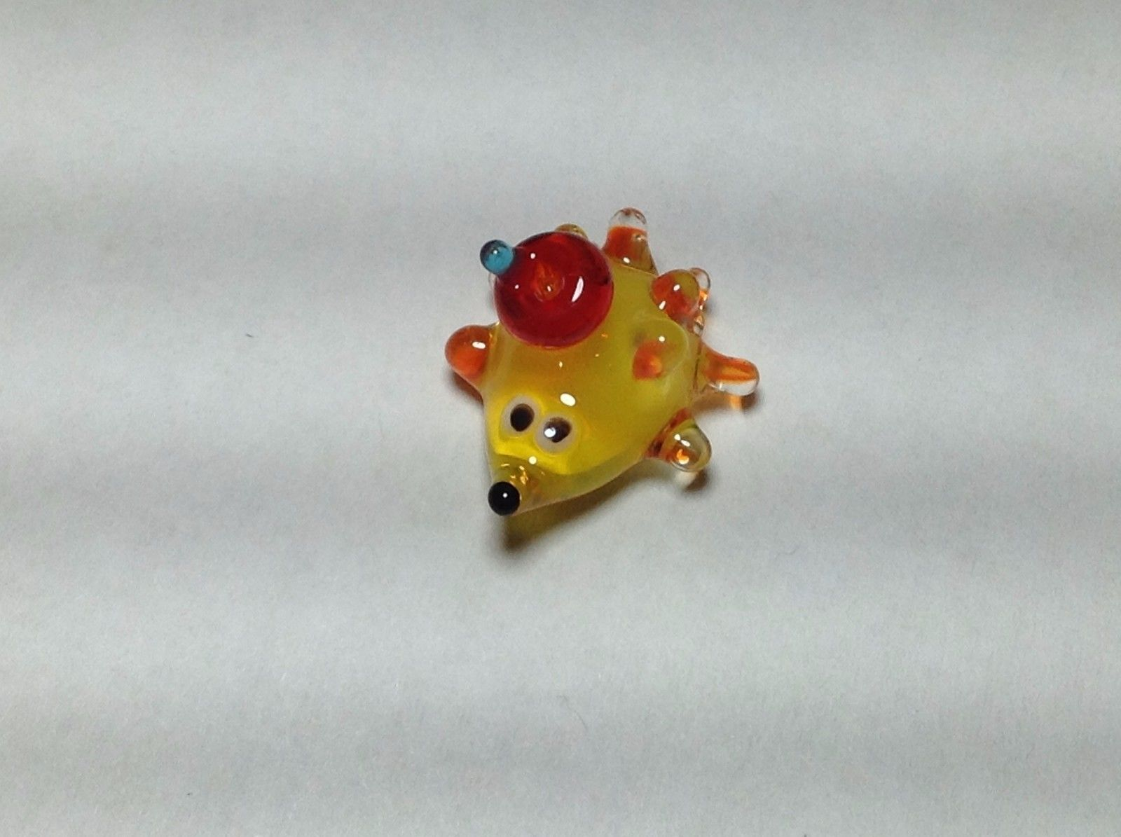 Miniature Glass hedgehog with hitchhiker Handmade Blown Glass Made USA