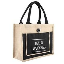 Vintage Square Gunny Bag Jute Handbag Storage Shopping Carrier Shoulder Tote Bag