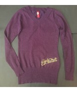 Apple Bottoms Purple Sweater M Sparkle Fitted Stretch Ribbed Trim V-Neck - $19.79