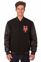 MLB New York Mets Wool & Leather Reversible Jacket with Embroidered Logos Black - $269.99