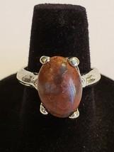 Silvertone Brown Moonstone Ring Fun Fashion Costume Jewelry - 6.5 - $8.99