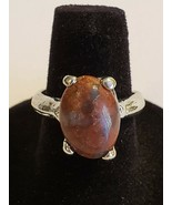 Silvertone Brown Moonstone Ring Fun Fashion Costume Jewelry - 6.5 - $8.99