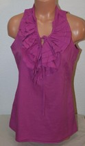 "ANN TAYLOR LOFT Small Ruffled Mauve Tank Top Shirt Sleeveless Chest: 38""... - $9.75"