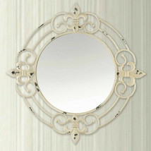Antique Look Wall Mirror with White Distressed Finish and Fleur di Lis Accents - $89.05