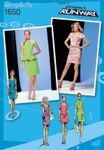 Simplicity Project Runway Pattern 1650 Misses Dress in 2 Lengths with Peplum and - $13.72