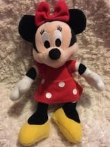 "Minnie Mouse Red Dress Polka Dots Bow 8"" Fleece Stuffed Animal Doll  - $5.00"