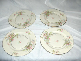 "4 Vintage 6.50"" Bread Plates Theodore Haviland China Apple Blossom New York - $44.55"