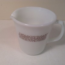 Pyrex Creamer Glass with Brown Flowers Woodland Brown Lovely - $7.69