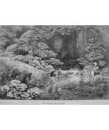JAPAN Garden of a Japanese Daimio (Aristocrat) - 1882 Wood Engraving - $19.80
