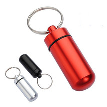 Aluminum Pill Box Case Bottle Holder Container Keychain - $9.58