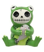 """Ebros Furrybones Froggie The Green Frog Toad Holding Tadpole Figurine Small 3"""" H - $10.99"""