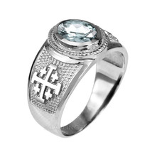 Sterling Silver Jerusalem Cross Clear CZ April Birthstone Ring - $49.99