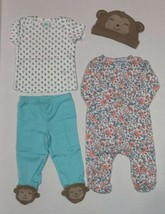 Carter's 4 Piece Set for Girls 3 6 or 9 Months Monkey Theme Discontinued Neon - $20.00