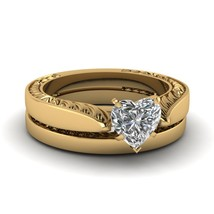 Heart Shaped Cubic Zirconia Recurred Flake Wedding Ring Set 14k Yellow Gold Fn - $99.99